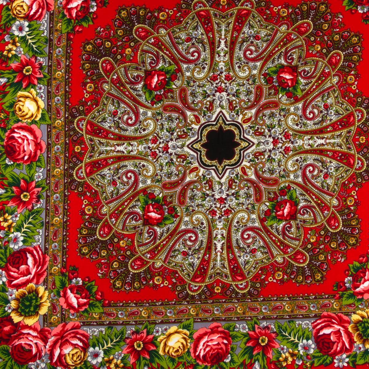 Черный платок с разноцветными цветами. Фото №2. | Народный дом Украина