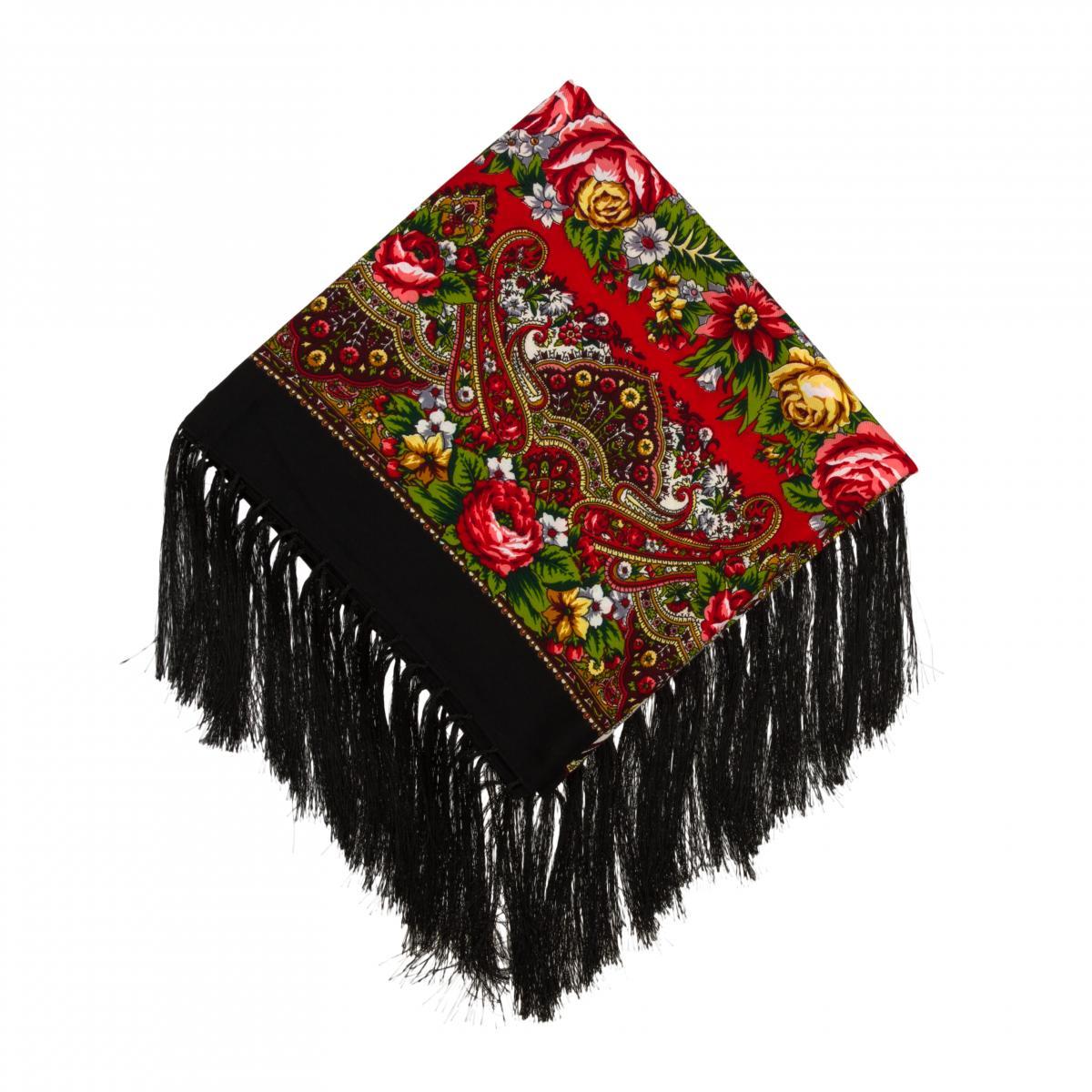 Черный платок с разноцветными цветами. Фото №1. | Народный дом Украина