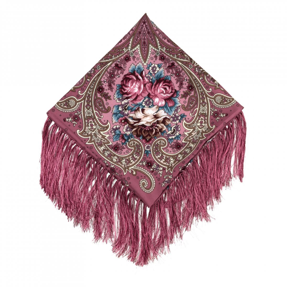 Ukrainian purple shawl with floral pattern. Photo №1. | Narodnyi dim Ukraine