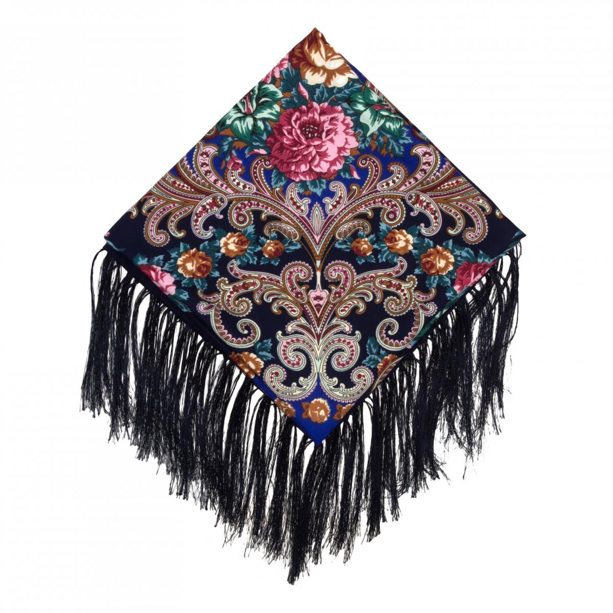 Ukrainian black shawl with bright flowers. Photo №1. | Narodnyi dim Ukraine