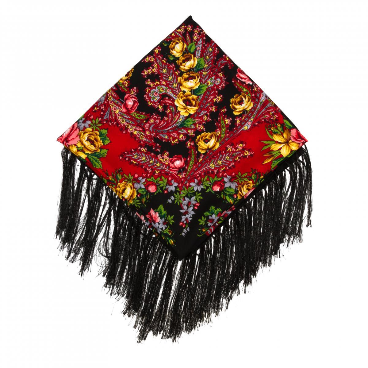 Черный платок с розовыми и желтыми розами. Фото №2. | Народный дом Украина