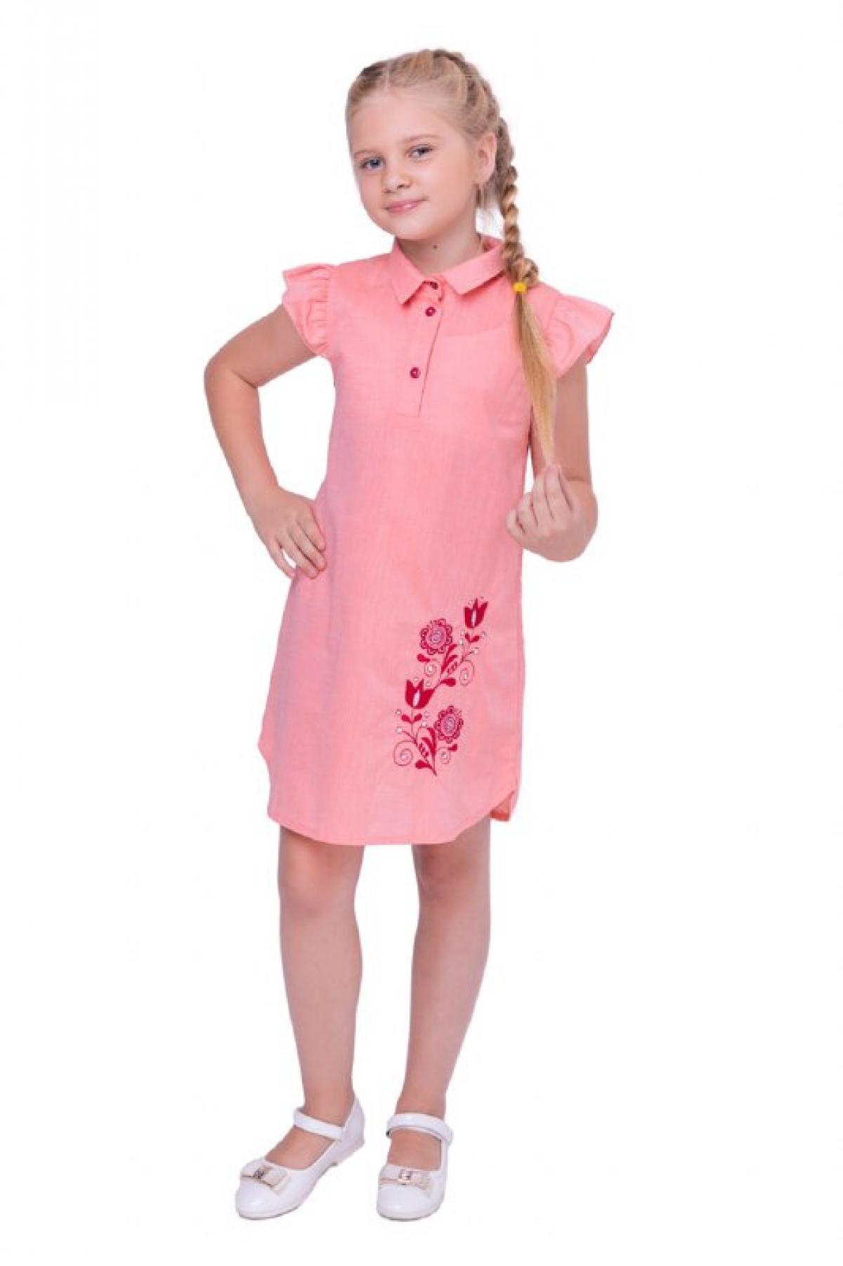 Pink embroidered dress with collar and short sleeve. Photo №1. | Narodnyi dim Ukraine