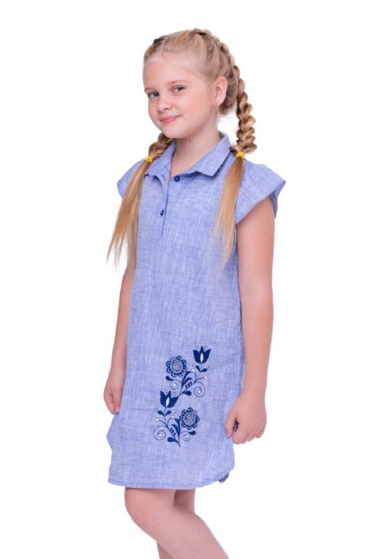 Blue embroidered dress with collar and short sleeve. Photo №1. | Narodnyi dim Ukraine