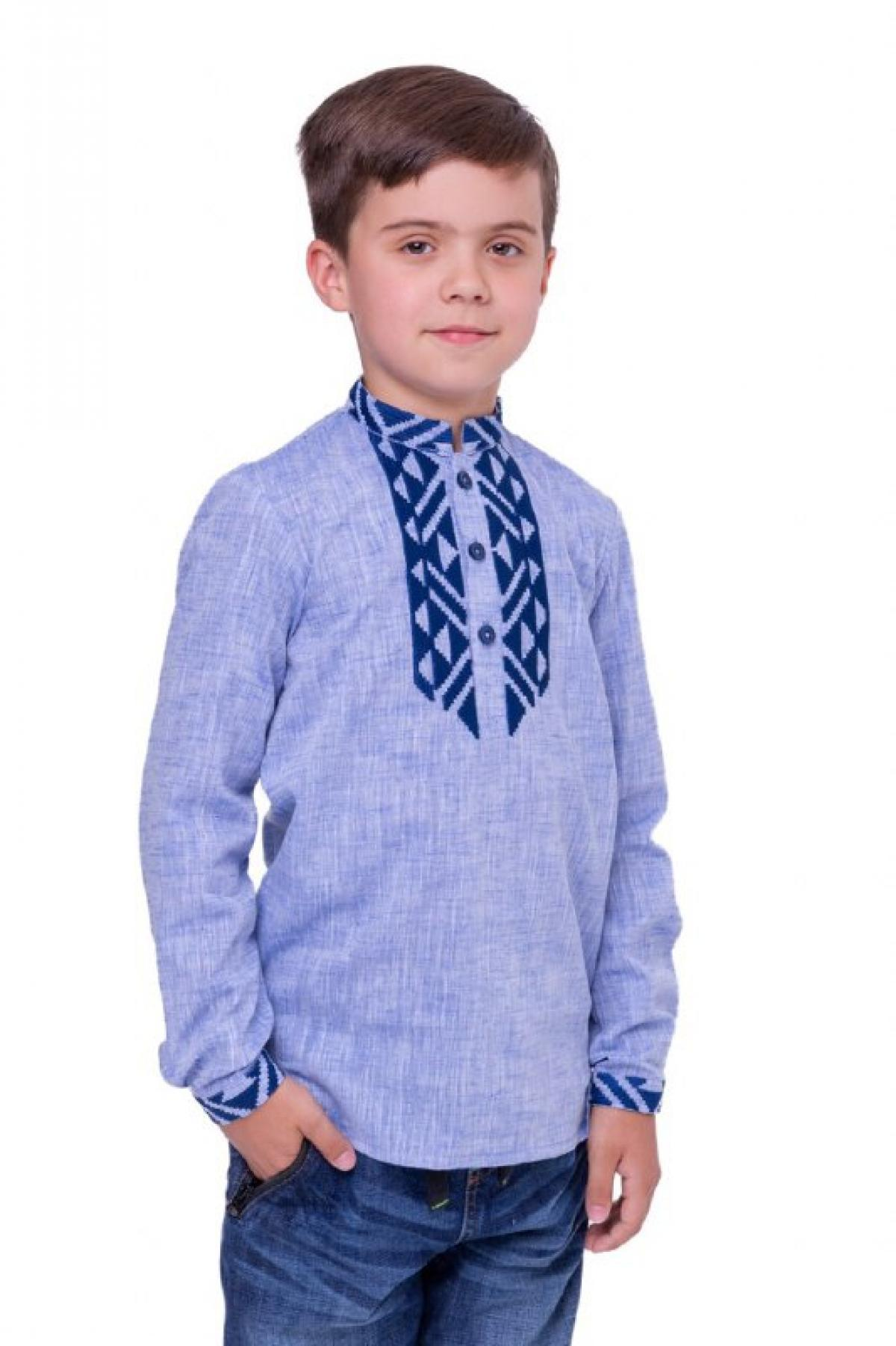 Blue embroidered shirt for a boy with dark blue embroidery. Photo №1. | Narodnyi dim Ukraine