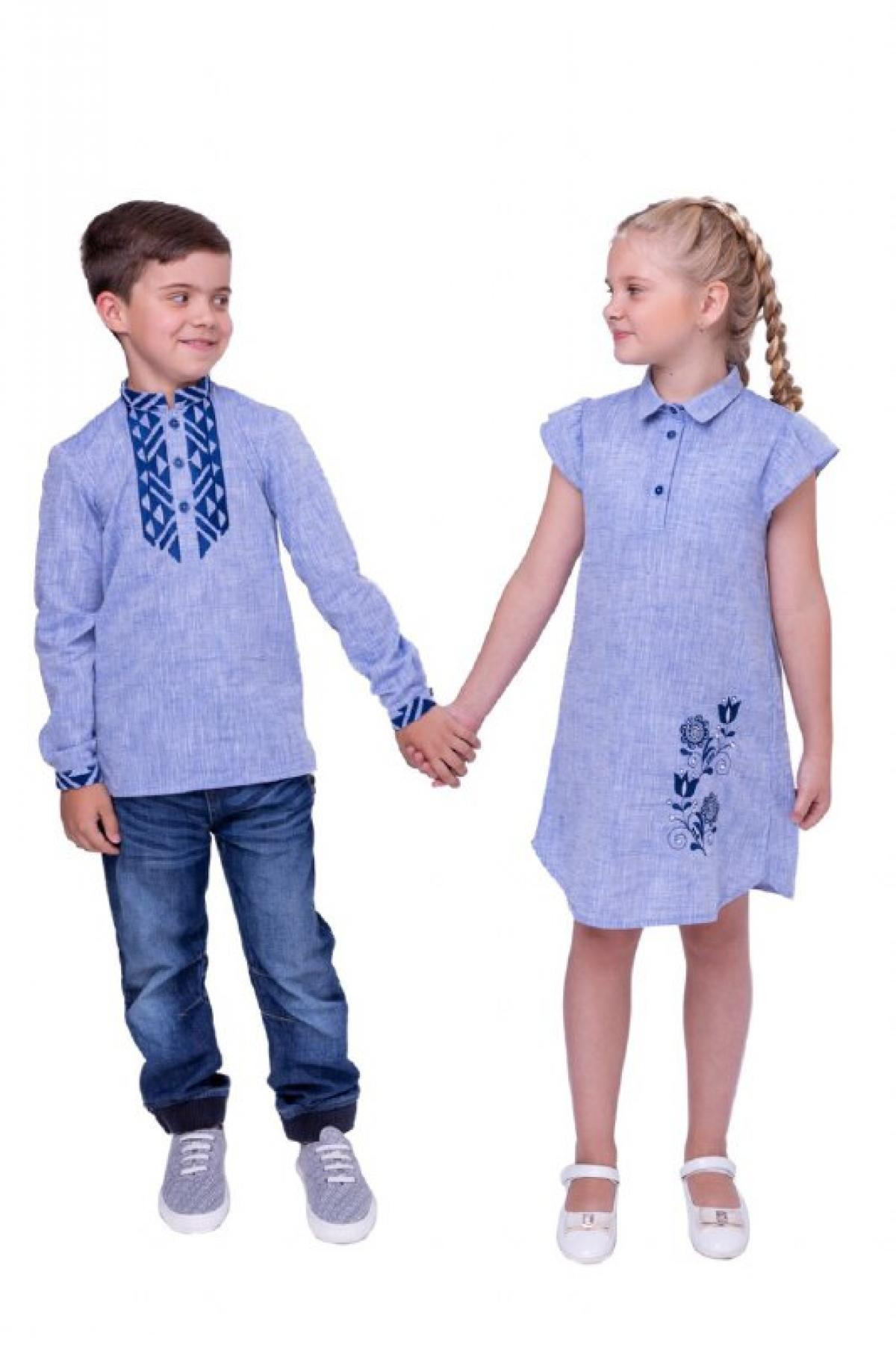 Blue embroidered shirt for a boy with dark blue embroidery. Photo №2. | Narodnyi dim Ukraine