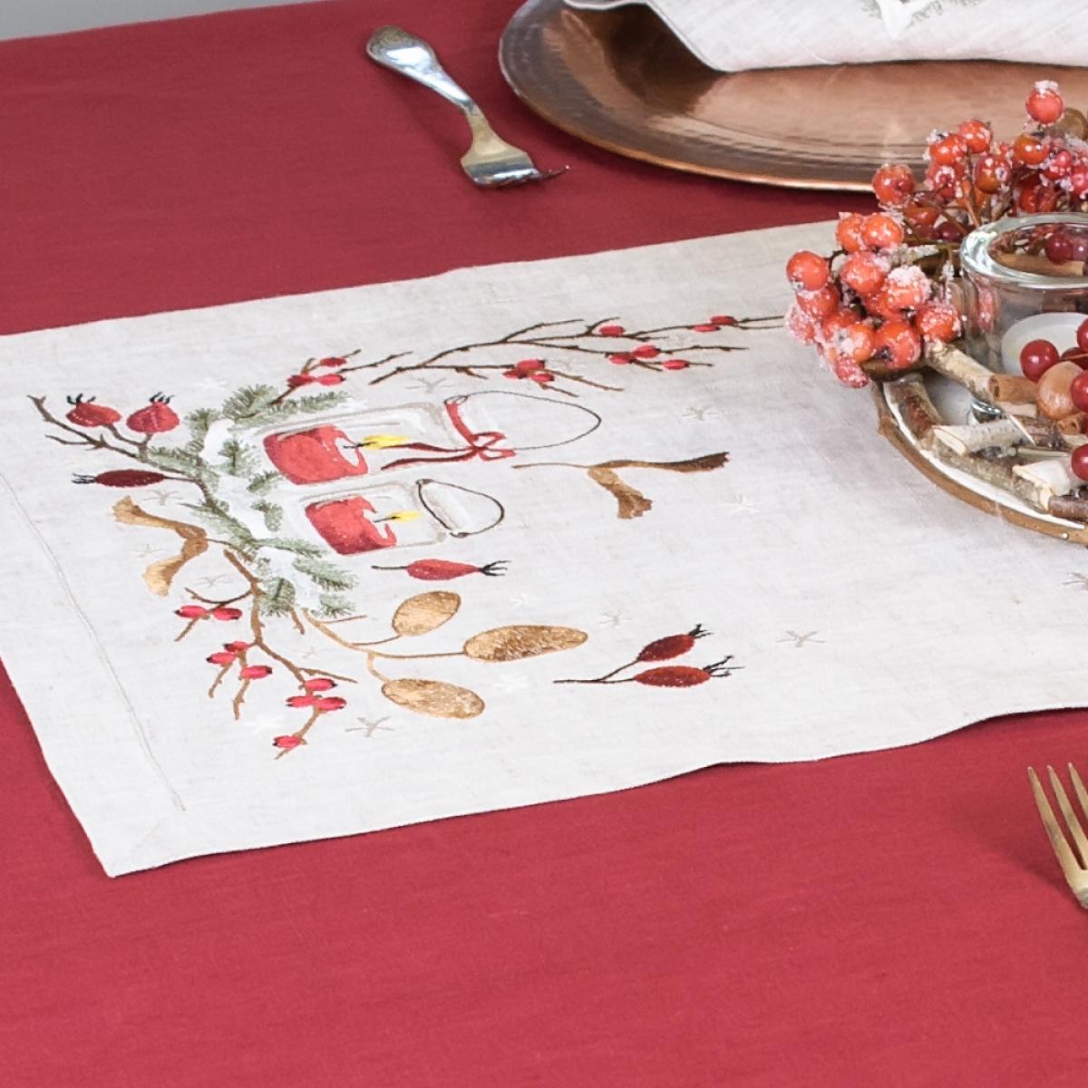 Linen runner on the table
