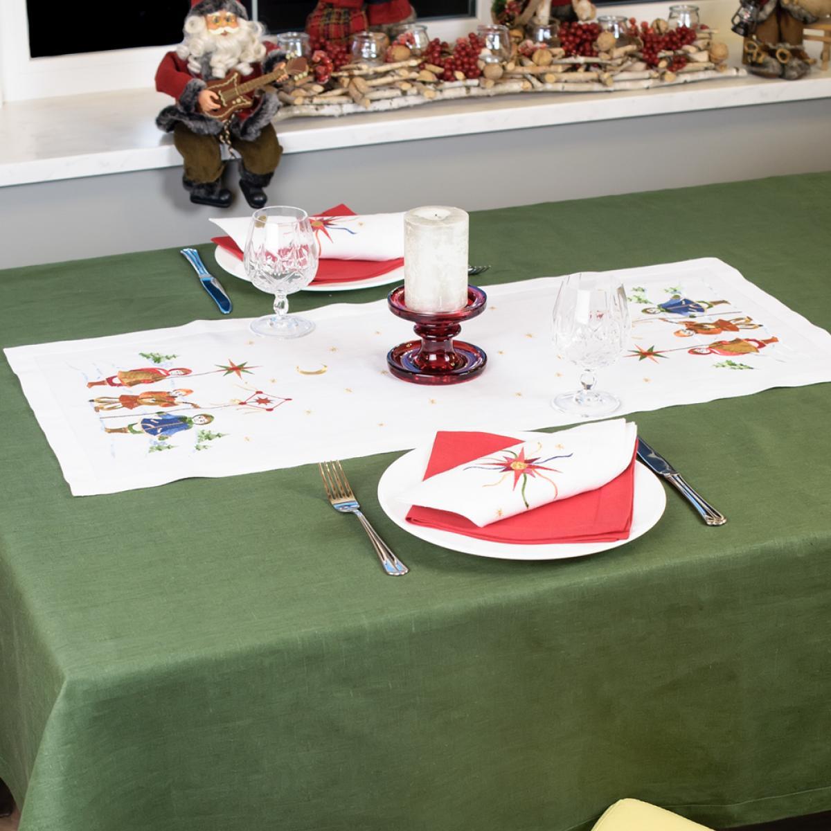 Linen runner on the table Christmas