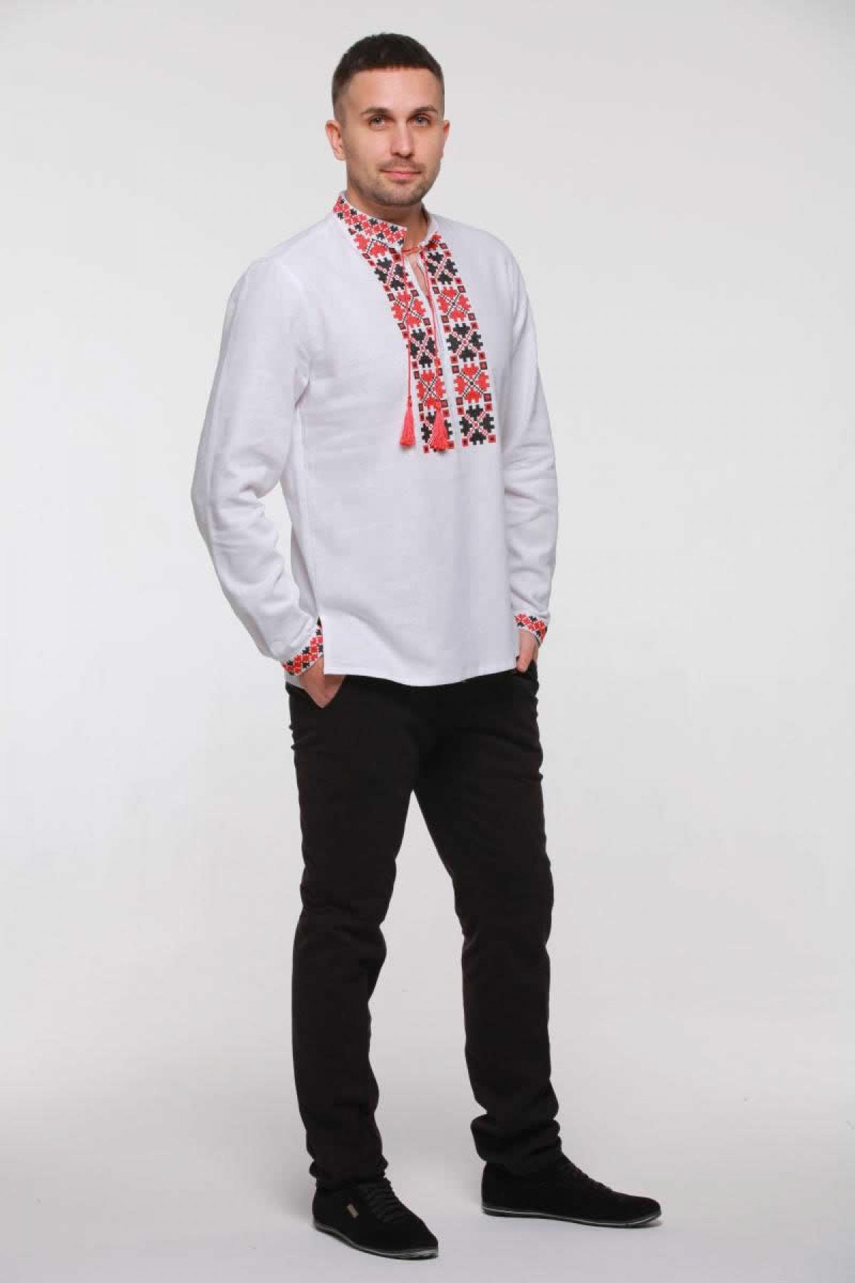 Men's embroidery with red and black embroidery. Photo №2. | Narodnyi dim Ukraine