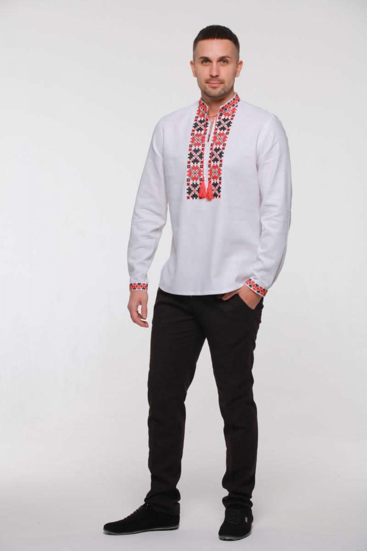 Men's embroidery with red and black embroidery. Photo №3. | Narodnyi dim Ukraine