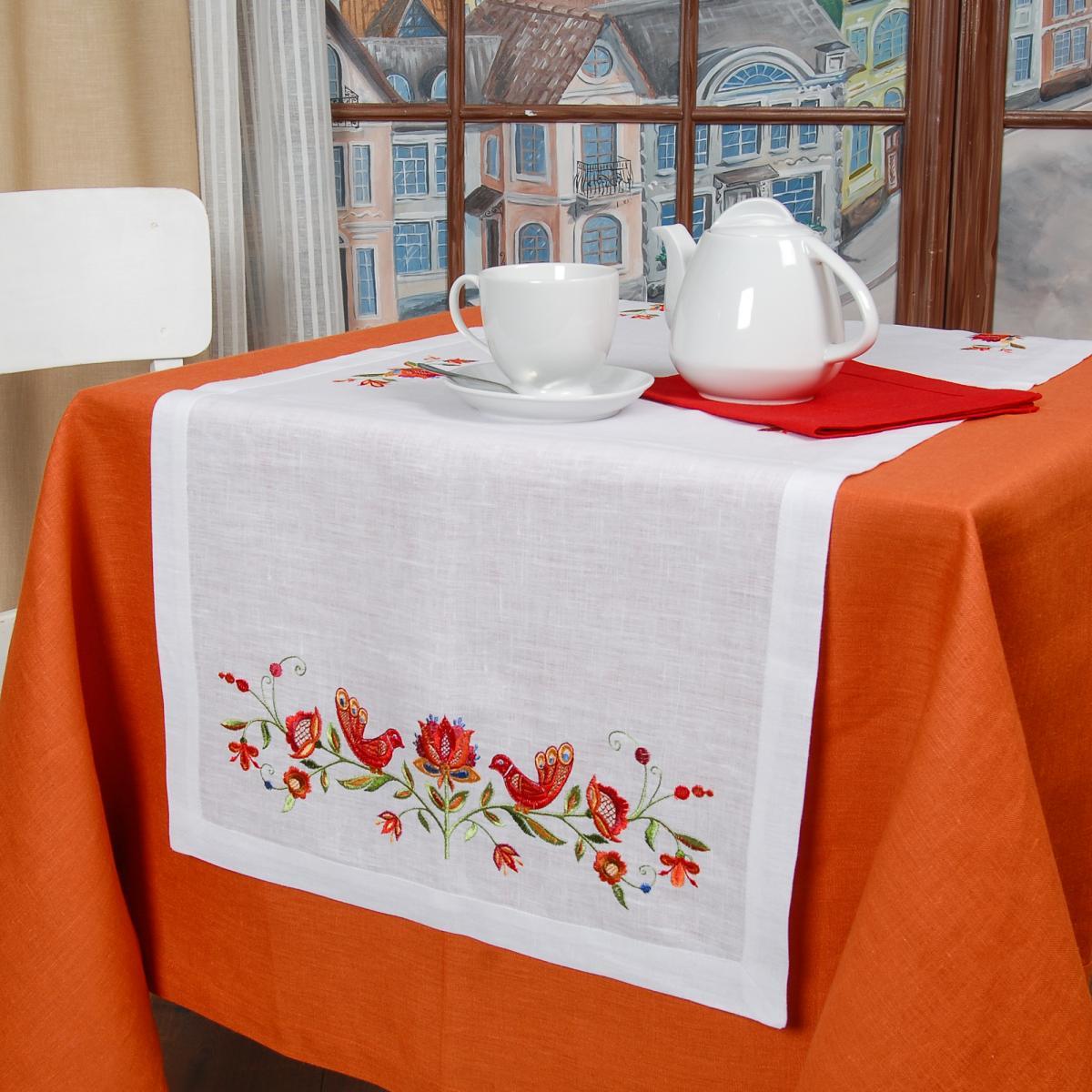 Біла Лляна доріжка на стіл Дерево життя 140*45. Фото №3. | Народний дім Україна