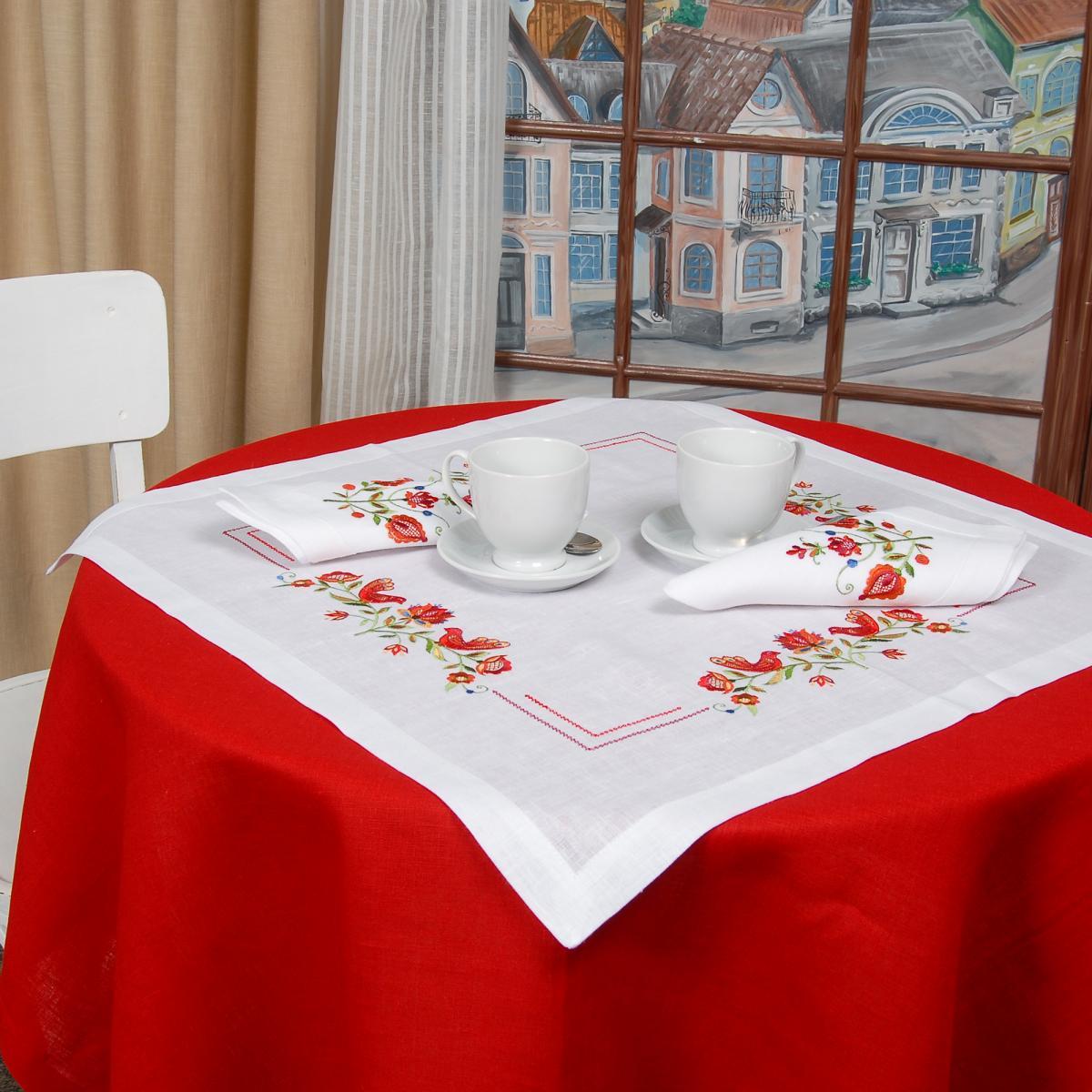 Біла Лляна серветка на стіл Дерево життя 40*40. Фото №2.   Народний дім Україна