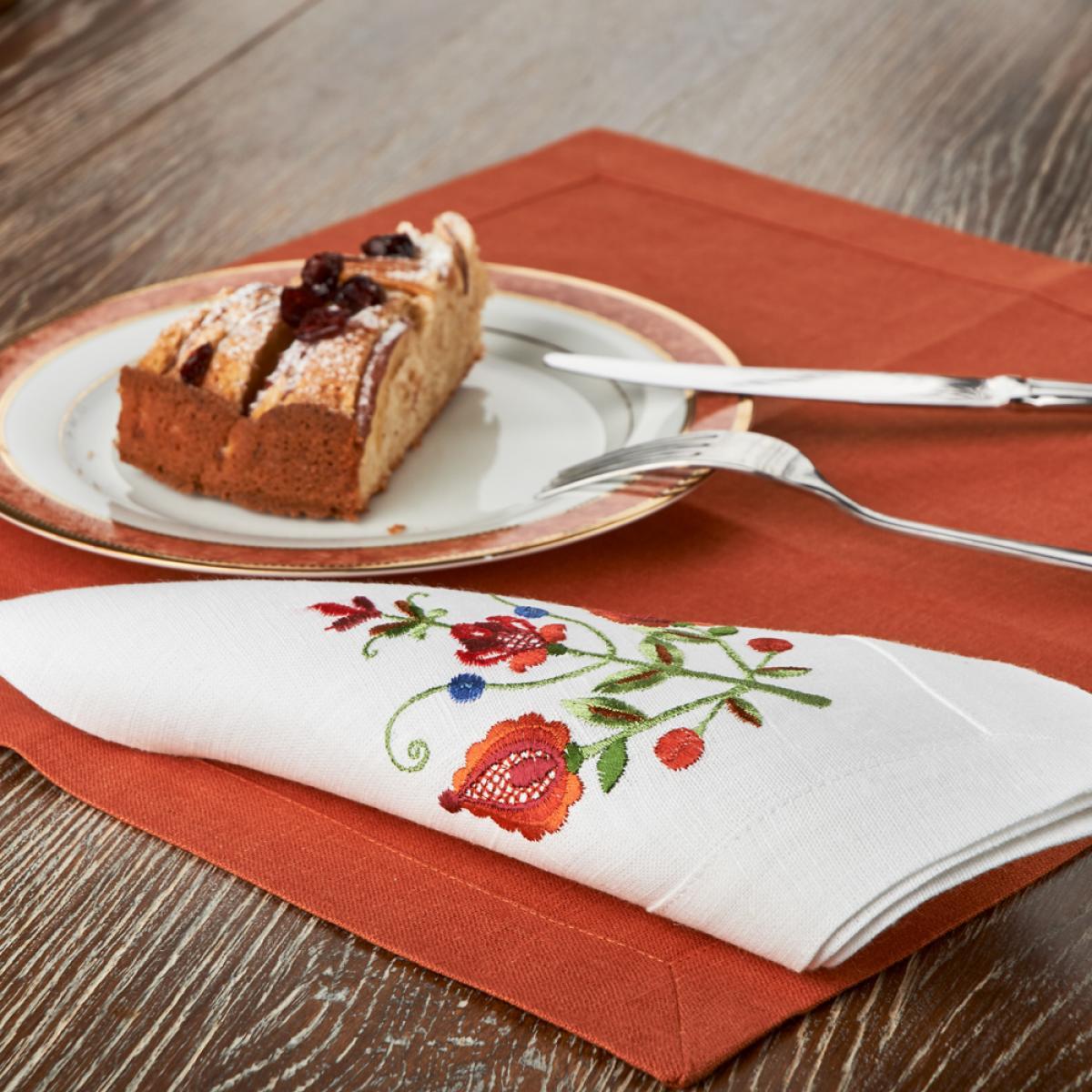 Біла Лляна серветка на стіл Дерево життя 40*40. Фото №5.   Народний дім Україна