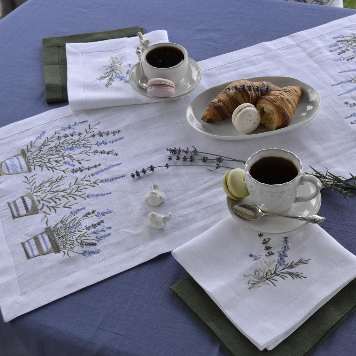 White linen napkin on the table Lavender 40 * 40. Photo №3. | Narodnyi dim Ukraine