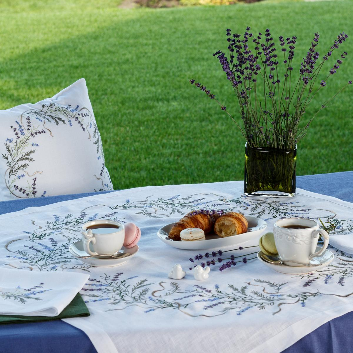 Square small tablecloth for the main tablecloth with embroidered lavender 90Х90см