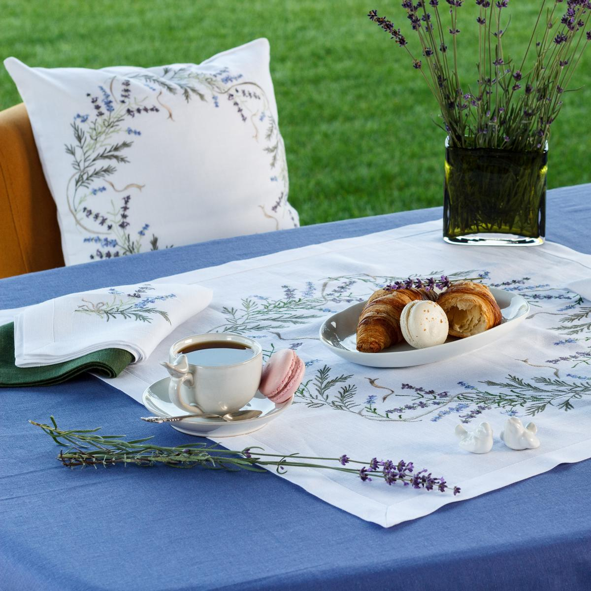 Square small tablecloth for the main tablecloth with embroidered lavender 65Х65 см