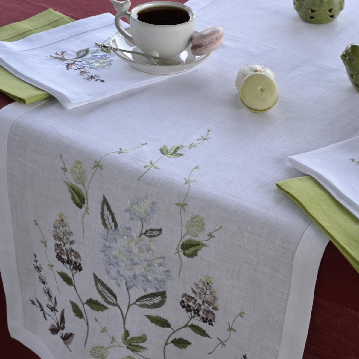 Лляна біла доріжка Гортензія 140*45 см. Фото №4. | Народний дім Україна