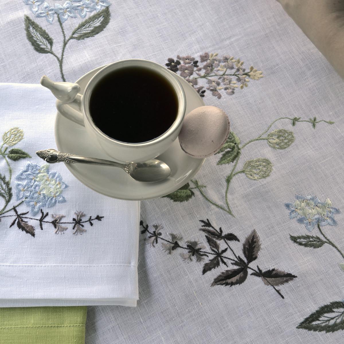 Лляна біла доріжка Гортензія 140*45 см. Фото №6. | Народний дім Україна