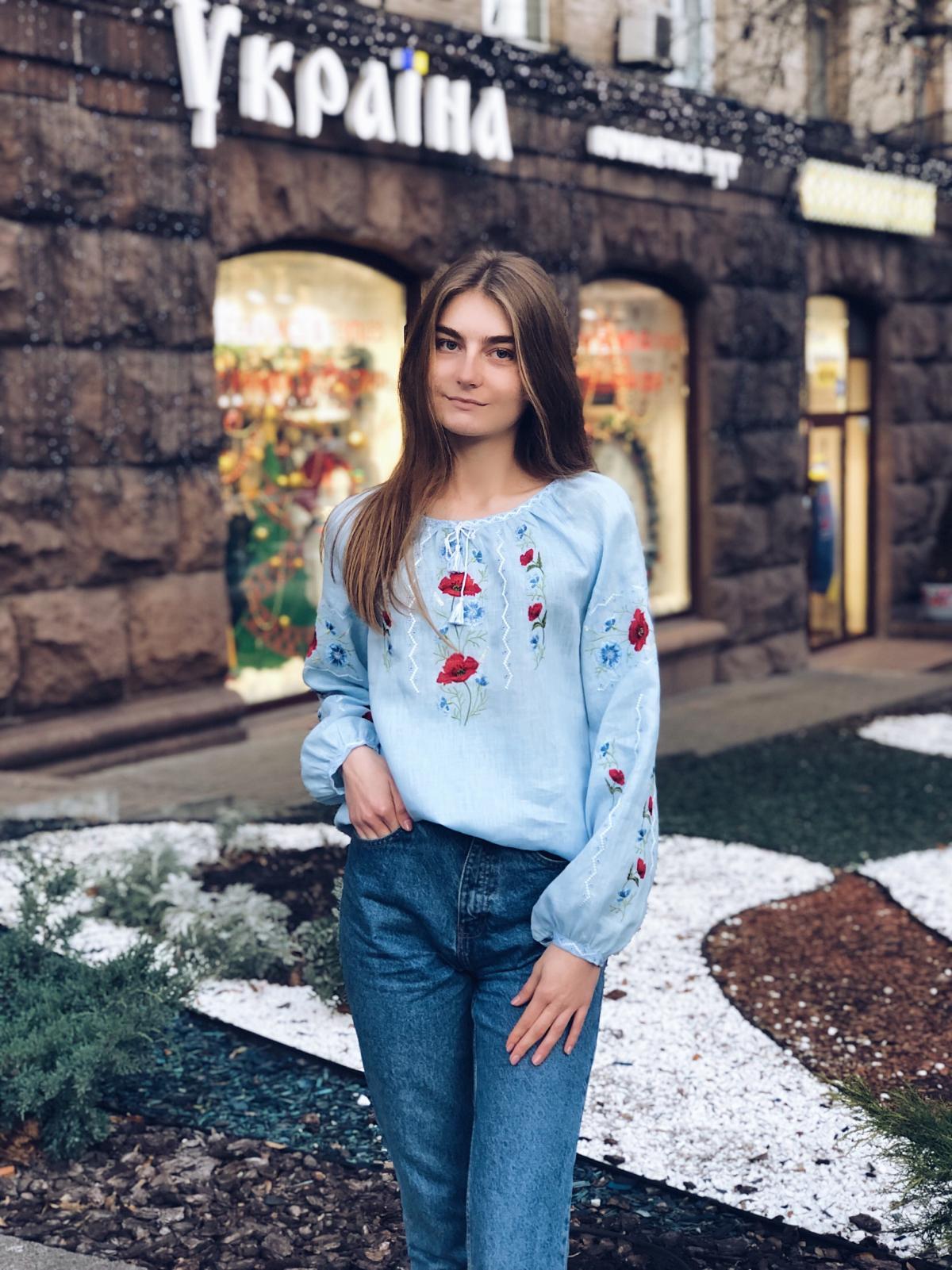 Embroidery for women blue on linen. Photo №2. | Narodnyi dim Ukraine