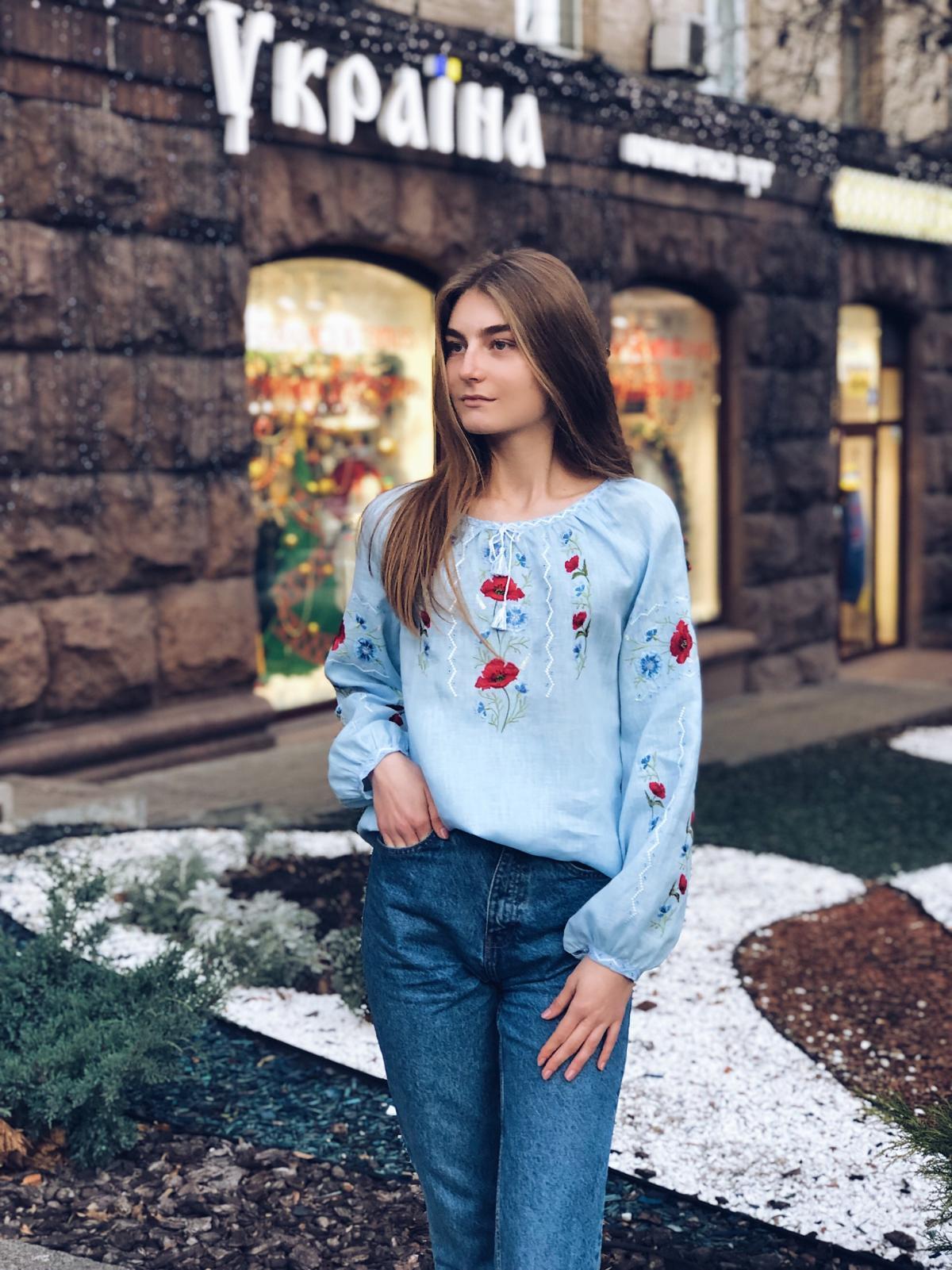 Embroidery for women blue on linen. Photo №5. | Narodnyi dim Ukraine