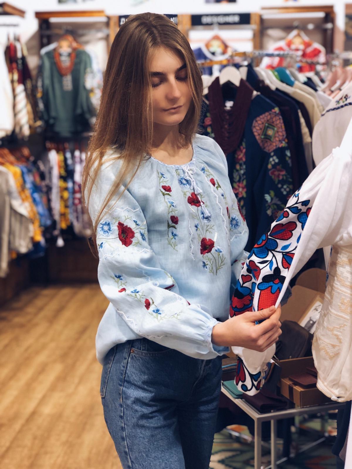Embroidery for women blue on linen. Photo №1. | Narodnyi dim Ukraine
