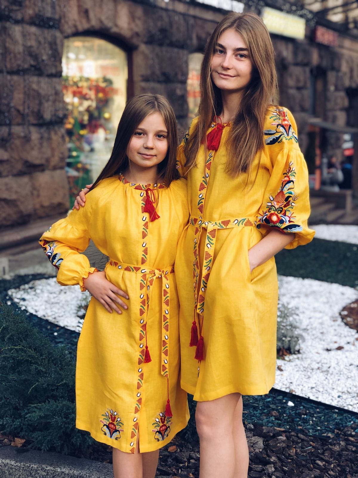 Жолтое вышитое платье средней длины embroidered pink dress. Photo №1. | Narodnyi dim Ukraine