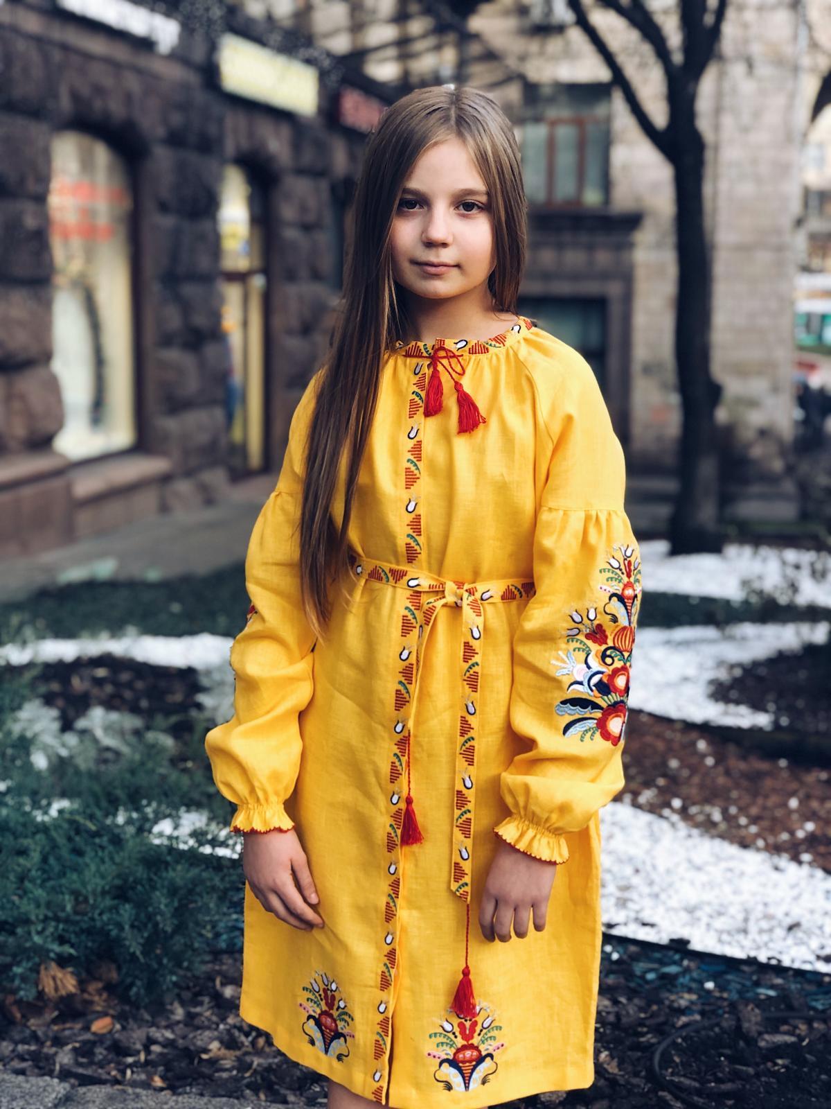 Жолтое вышитое платье средней длины embroidered pink dress. Photo №2. | Narodnyi dim Ukraine