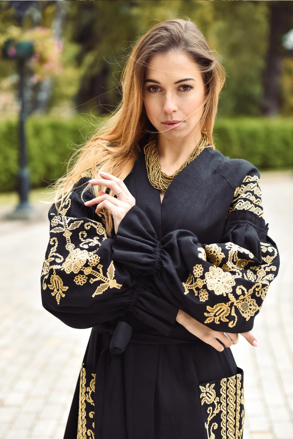 Black long embroidered dress. Photo №2. | Narodnyi dim Ukraine