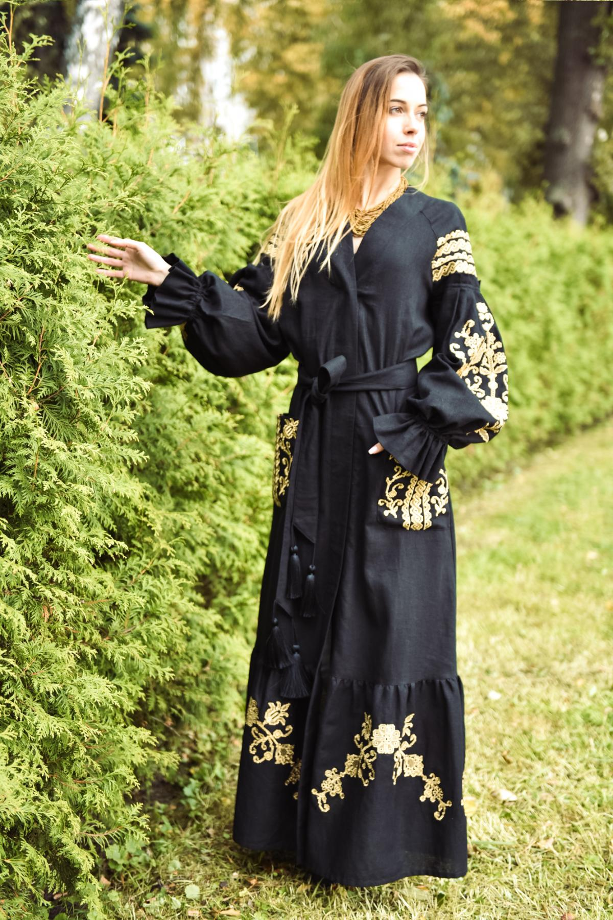 Black long embroidered dress. Photo №3. | Narodnyi dim Ukraine
