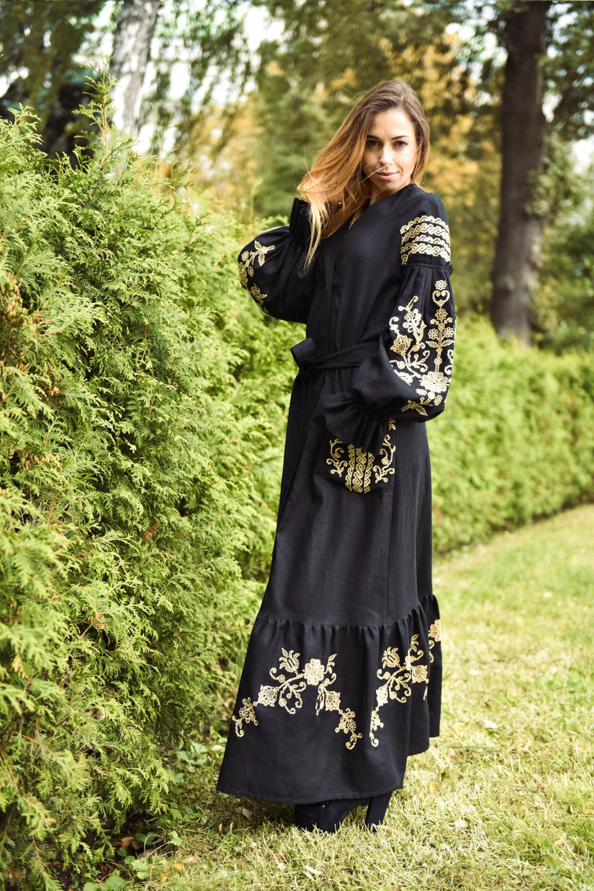 Black long embroidered dress. Photo №1. | Narodnyi dim Ukraine