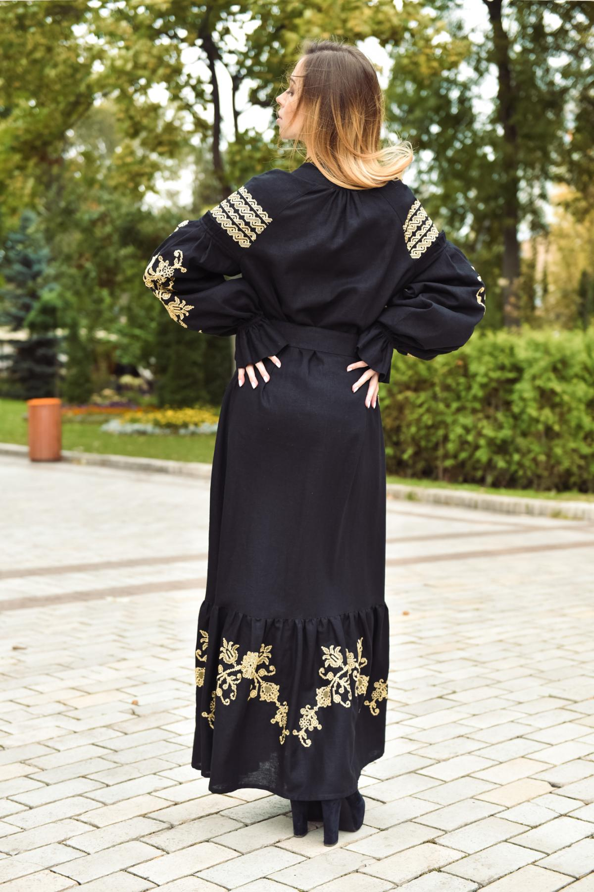 Black long embroidered dress. Photo №4. | Narodnyi dim Ukraine