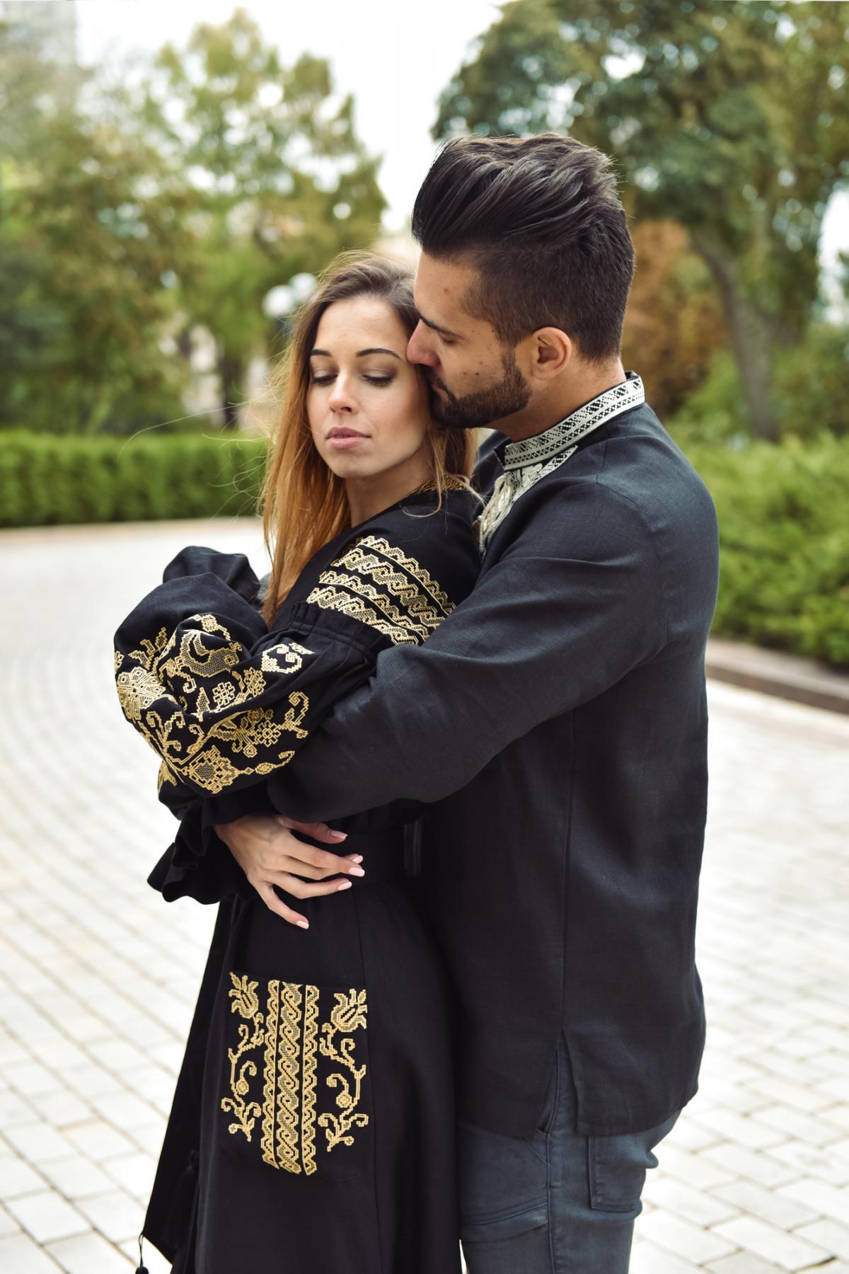 Black long embroidered dress. Photo №5.   Narodnyi dim Ukraine