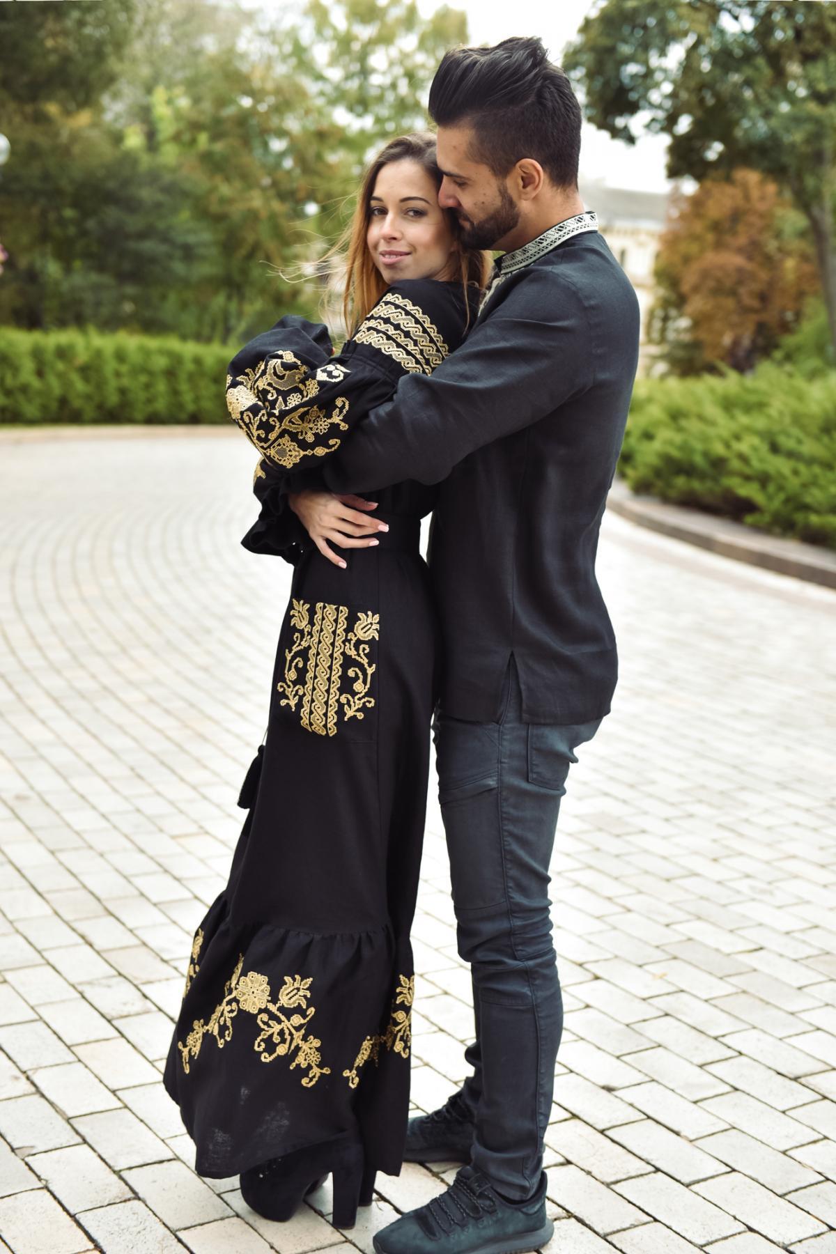 Black long embroidered dress. Photo №6.   Narodnyi dim Ukraine