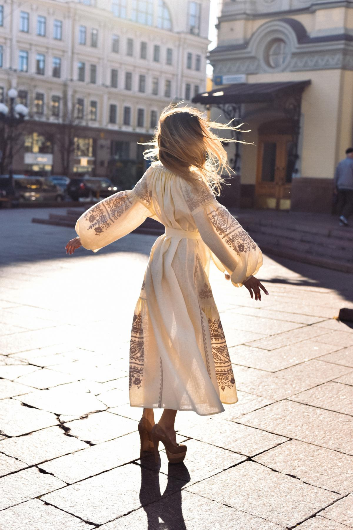 Long embroidered  beige dress with stylish embroidery,  Limited Edition Embroidered Dress. Photo №3. | Narodnyi dim Ukraine