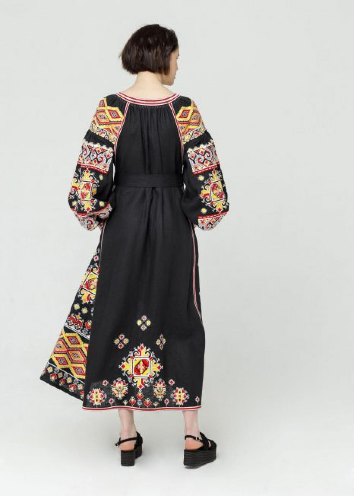 Long Black linen embroidered dress,  Limited Edition . Photo №3. | Narodnyi dim Ukraine