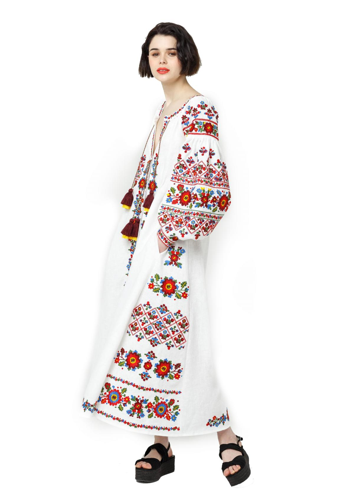 Long white embroidered dress with embroidery flowers,  Limited Edition. Photo №2. | Narodnyi dim Ukraine