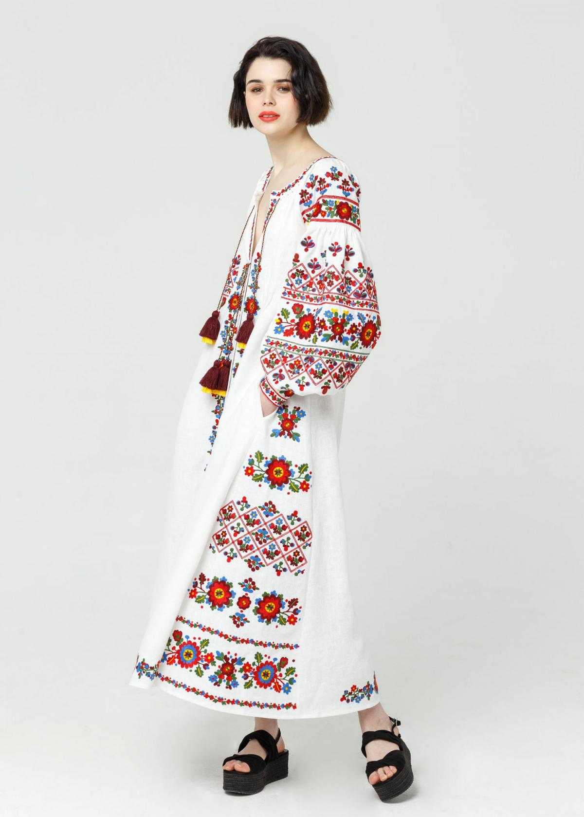 Long white embroidered dress with embroidery flowers,  Limited Edition. Photo №1. | Narodnyi dim Ukraine