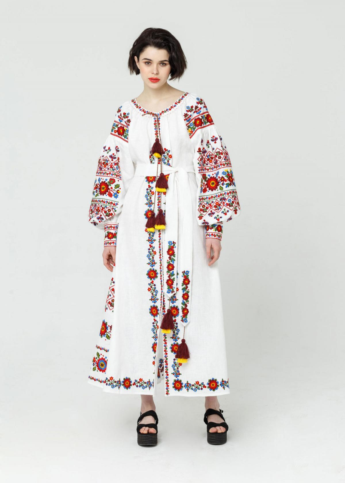 Long white embroidered dress with embroidery flowers,  Limited Edition. Photo №3. | Narodnyi dim Ukraine