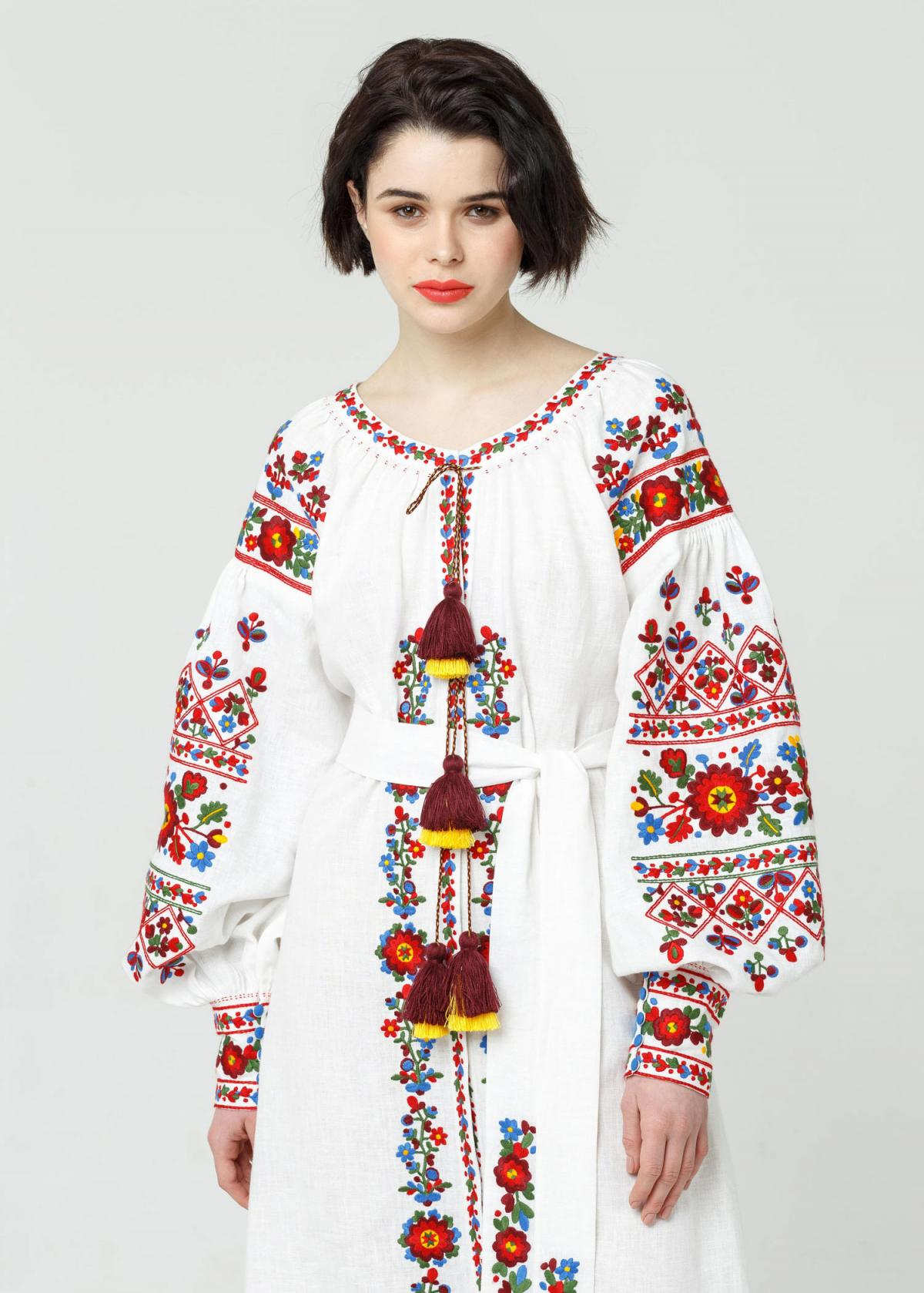 Long white embroidered dress with embroidery flowers,  Limited Edition. Photo №5. | Narodnyi dim Ukraine