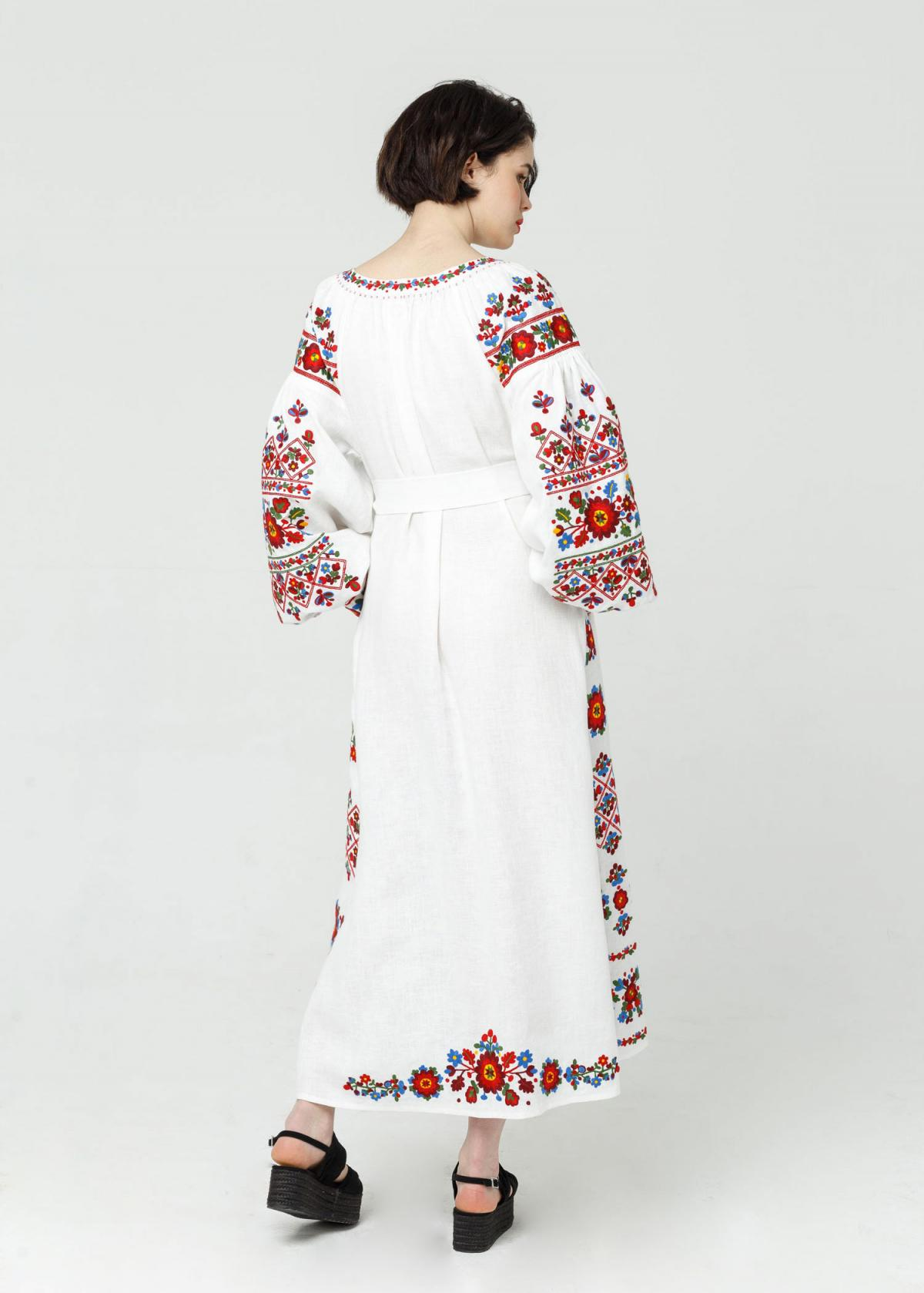 Long white embroidered dress with embroidery flowers,  Limited Edition. Photo №6. | Narodnyi dim Ukraine