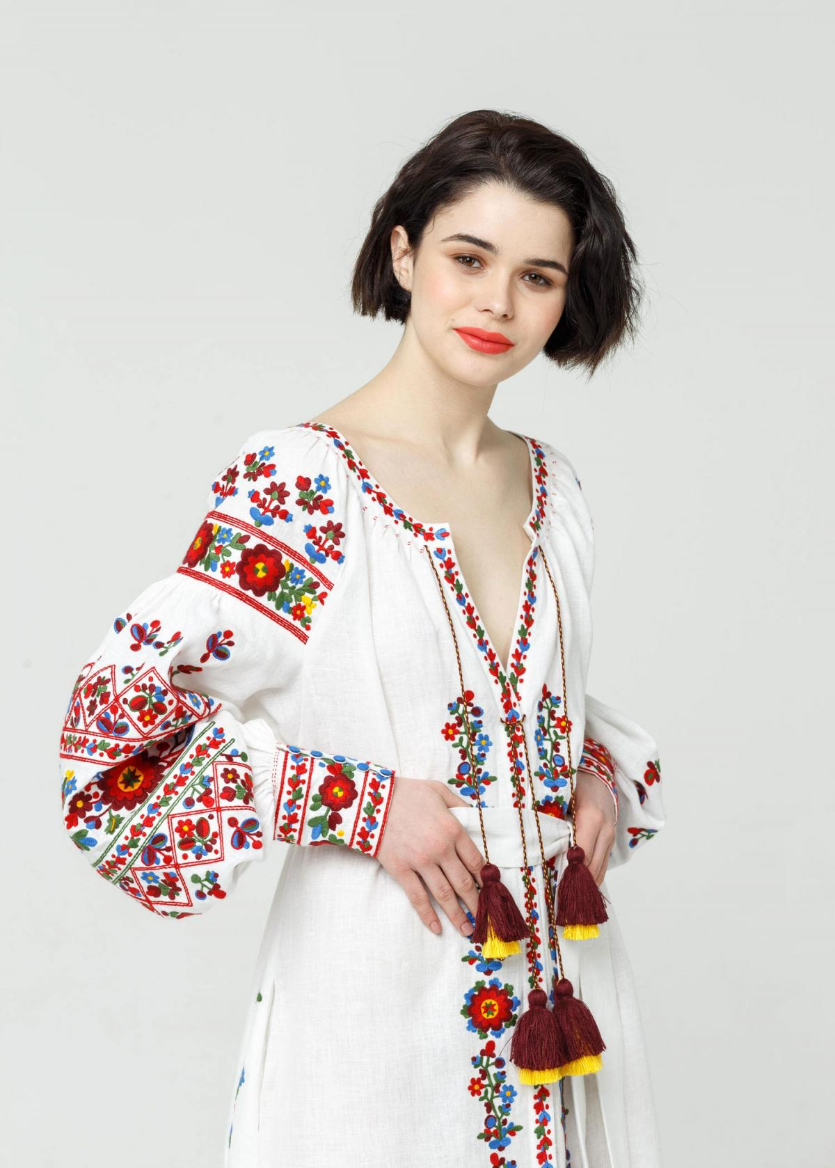 Long white embroidered dress with embroidery flowers,  Limited Edition. Photo №7. | Narodnyi dim Ukraine
