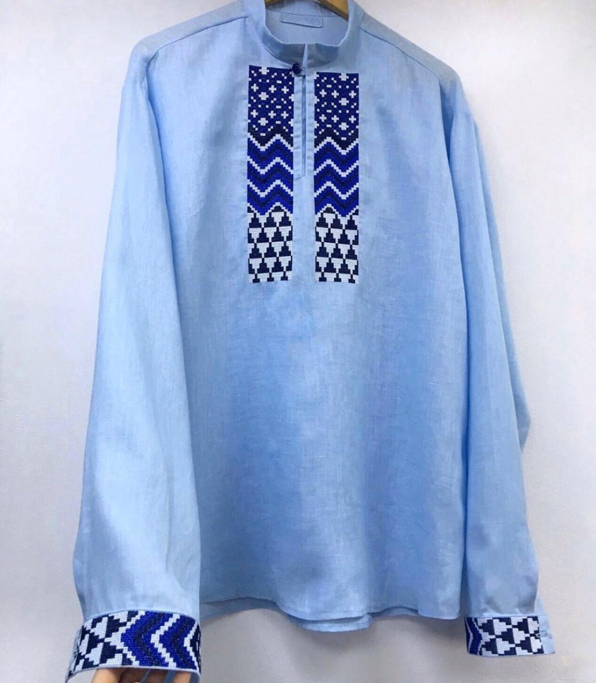 Мужская вишиванка синяя . Фото №2. | Народный дом Украина