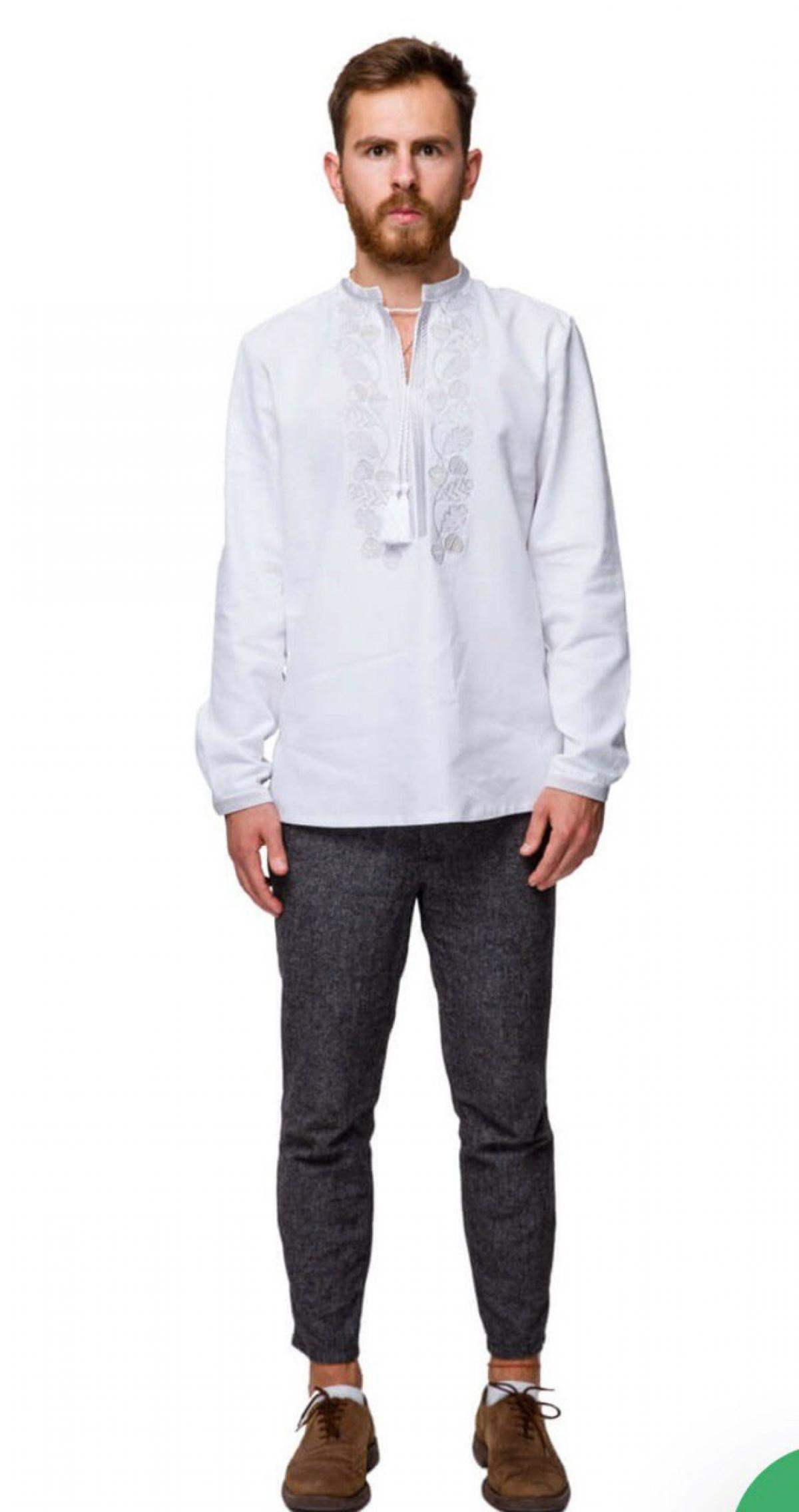 White men's embroidered shirt with silver embroidery  . Photo №2. | Narodnyi dim Ukraine