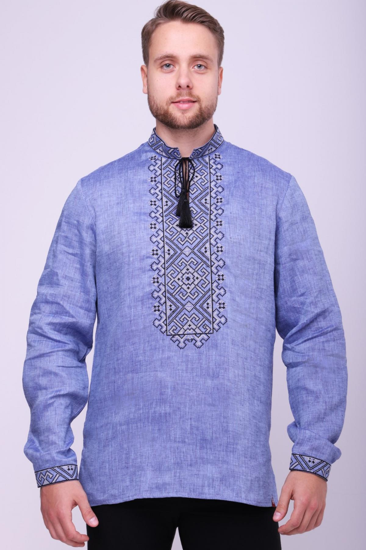Лляна чоловіча сорочка цікавого виразного джинсового кольору . Фото №2. | Народний дім Україна