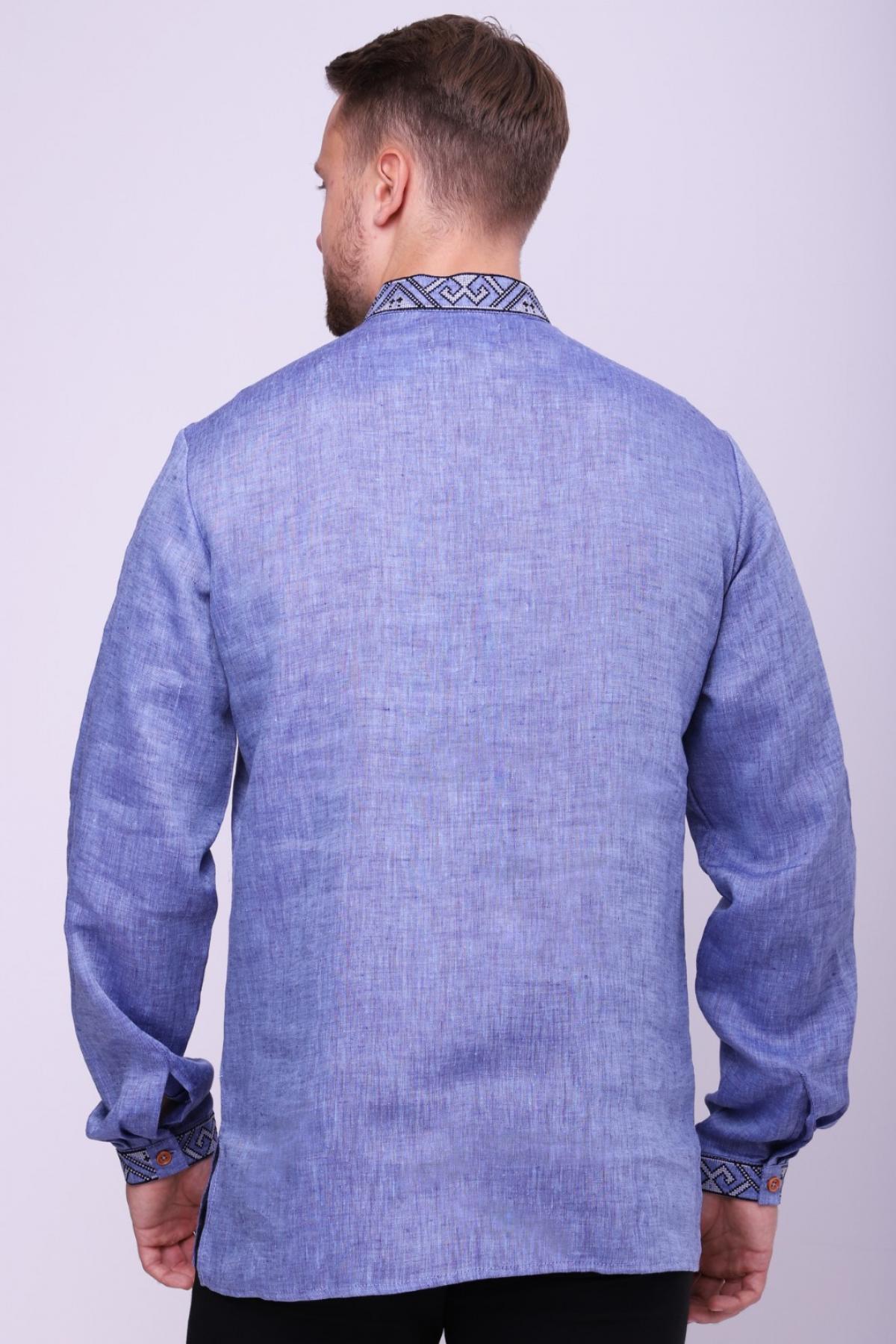 Лляна чоловіча сорочка цікавого виразного джинсового кольору . Фото №3. | Народний дім Україна