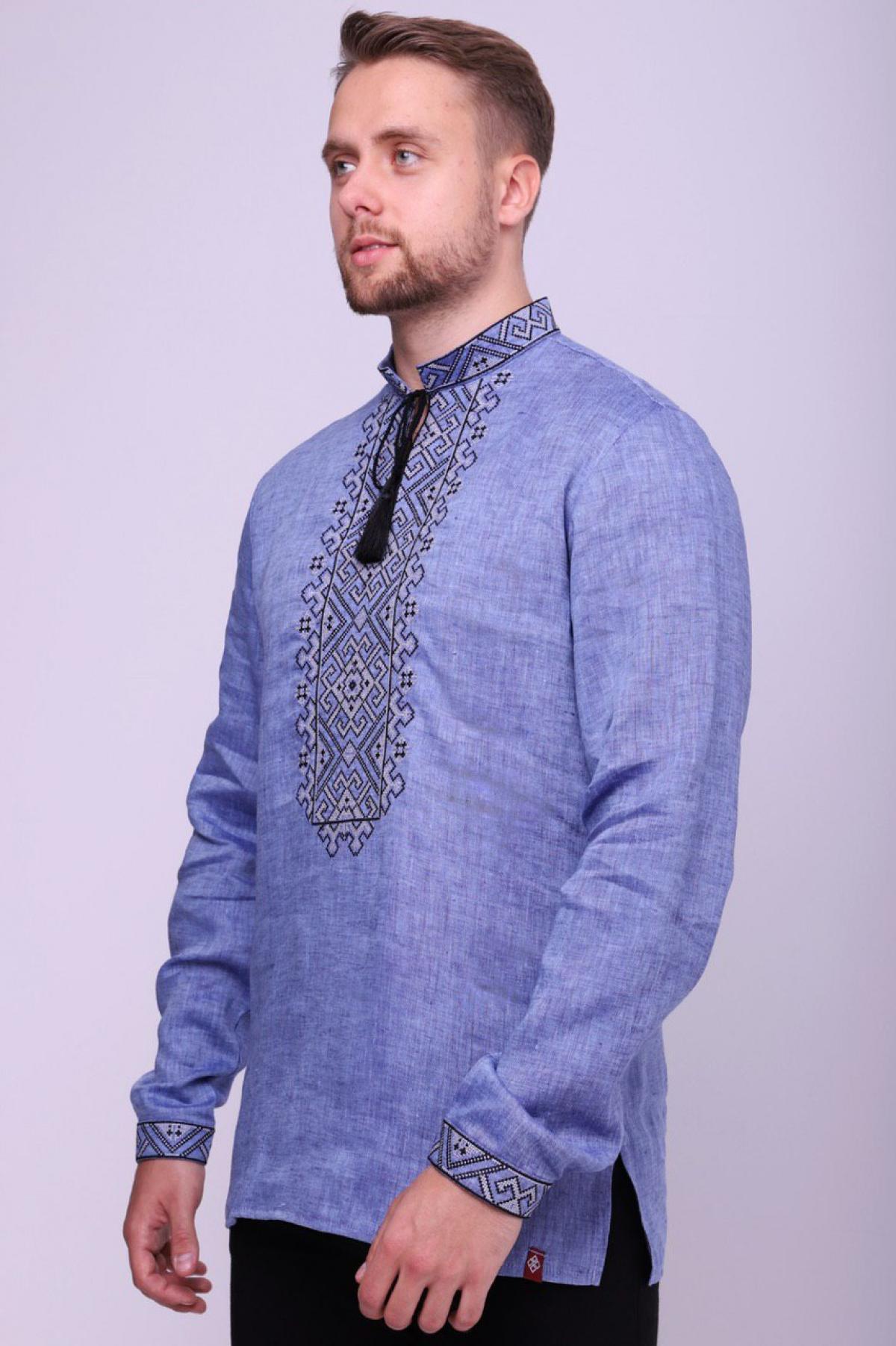 Men's linen shirt of interesting expressive denim color. Photo №1. | Narodnyi dim Ukraine