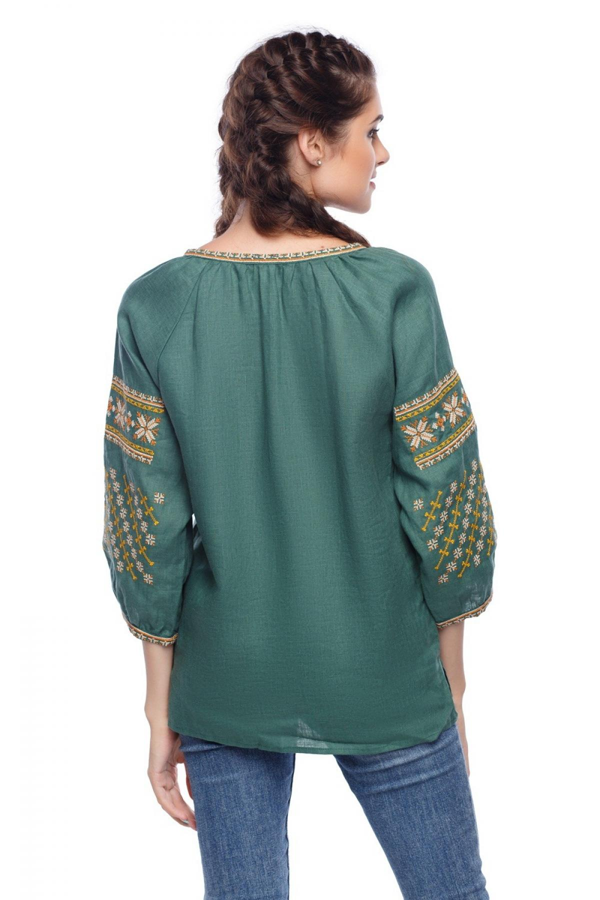 Green embroidered shirt with 3/4 sleeves. Photo №2. | Narodnyi dim Ukraine