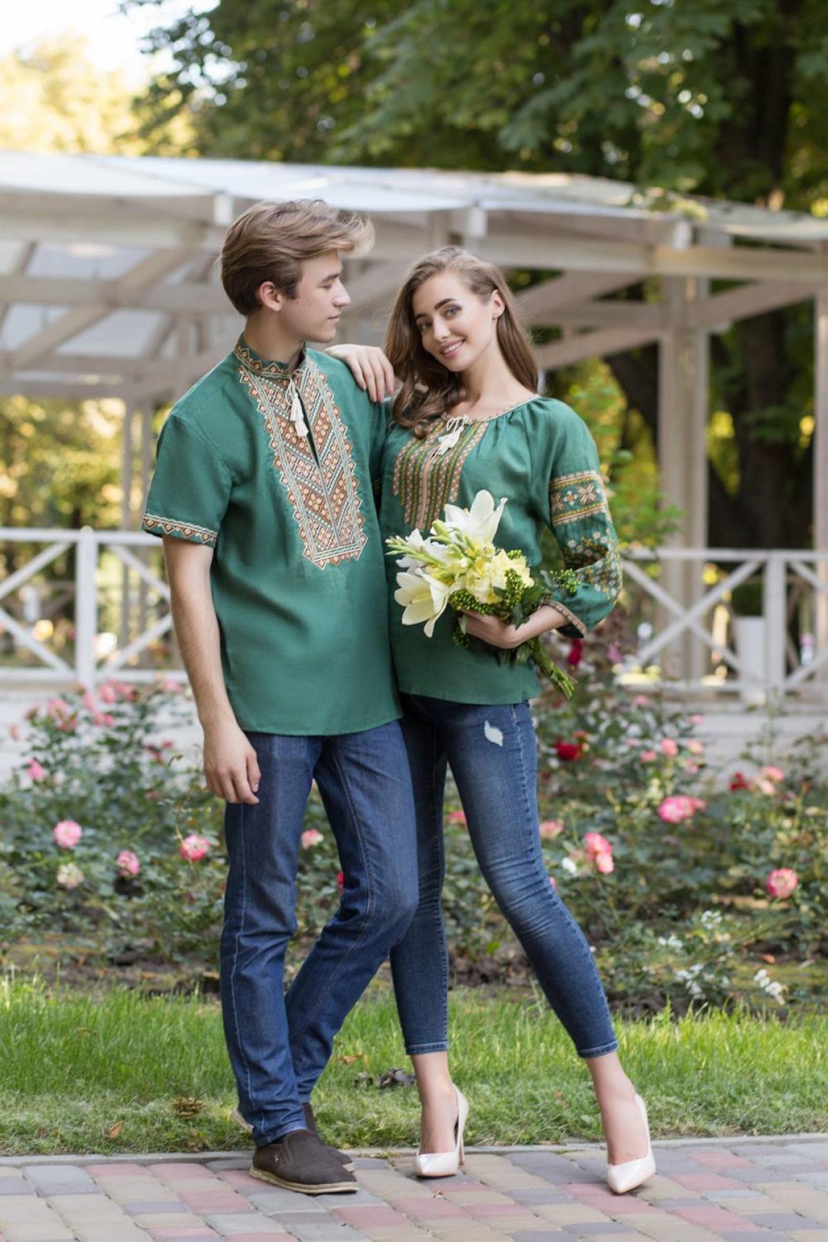 Green embroidered shirt with 3/4 sleeves. Photo №3. | Narodnyi dim Ukraine