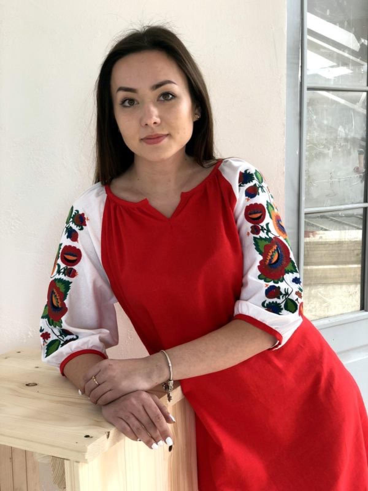 Красное льняное платье. Фото №1. | Народный дом Украина