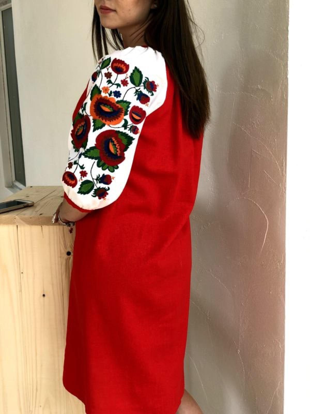Красное льняное платье. Фото №2. | Народный дом Украина