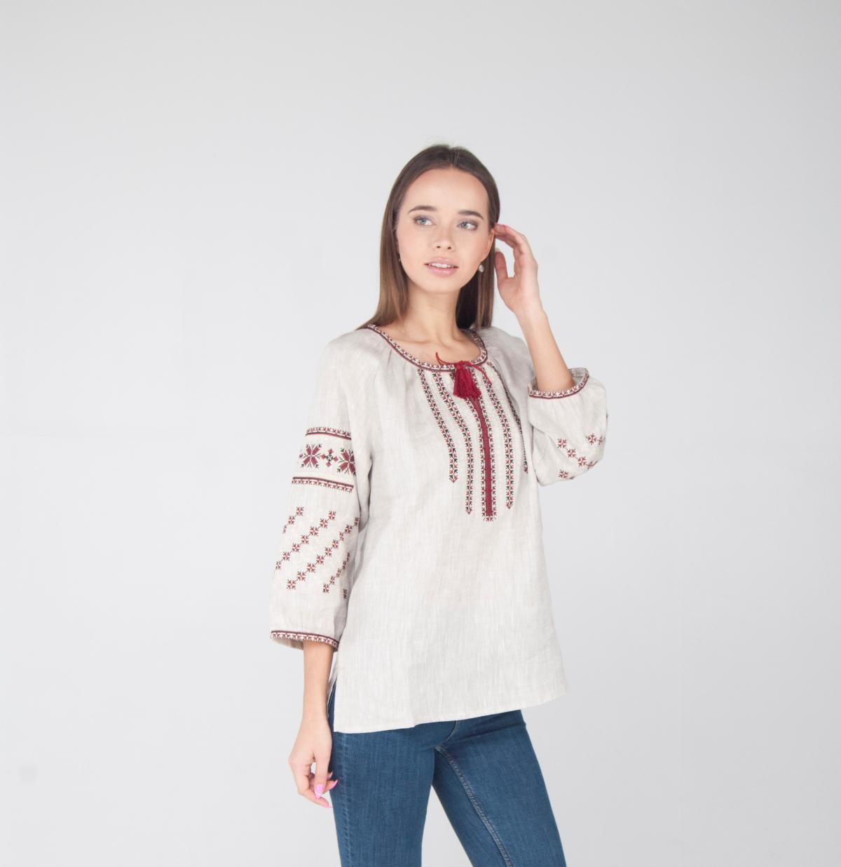Women's embroidered shirt on natural linen with 3/4 sleeves. Photo №1. | Narodnyi dim Ukraine